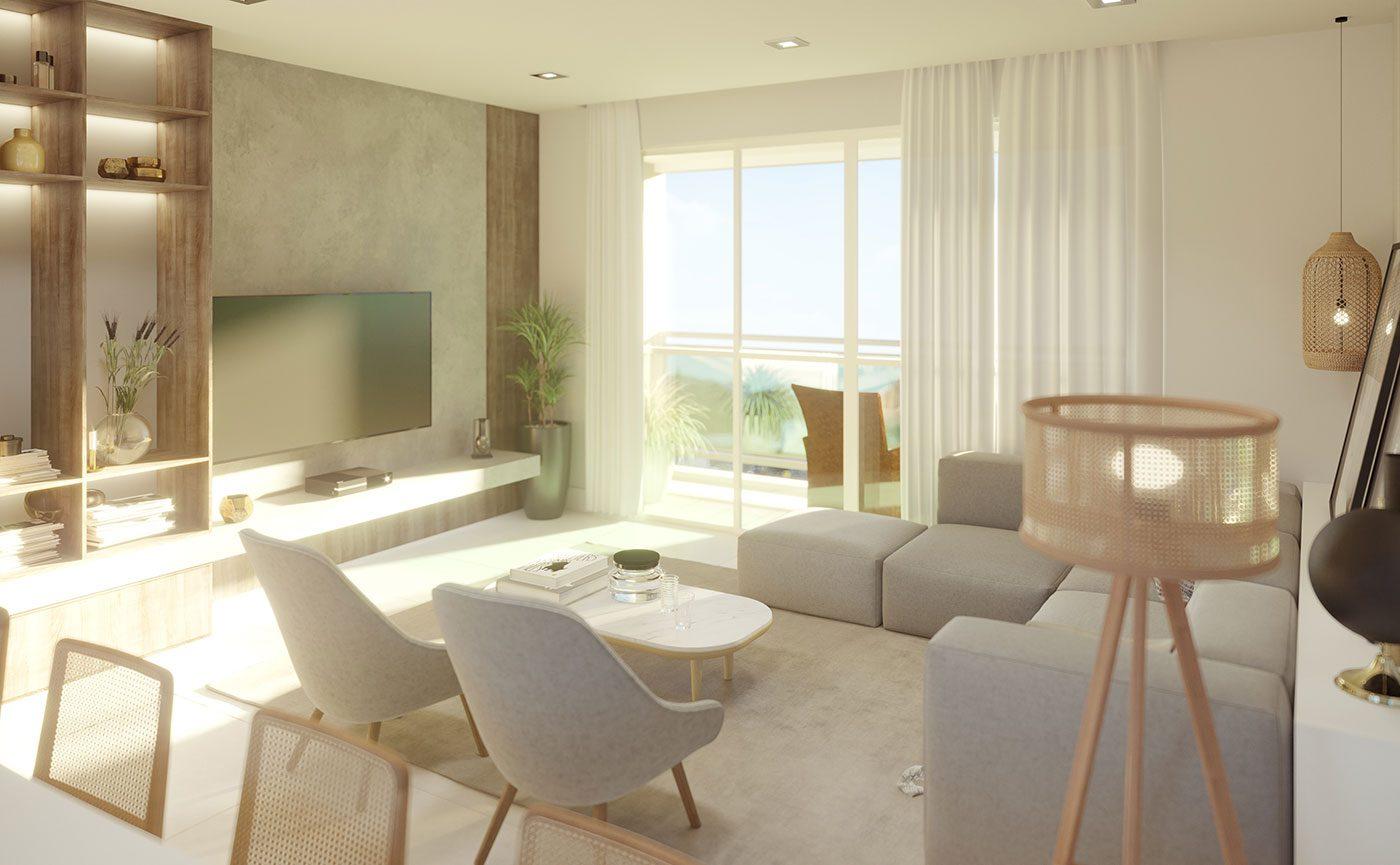 Sala de Estar - Residencial The Sand